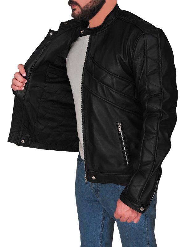 men leather jacket in black, sleek black leather jacket for men,