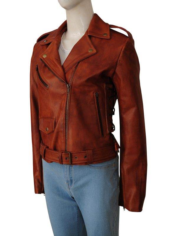 slim fit motorcycle leather jacket for women, brown motorcycle leather jacket for women,