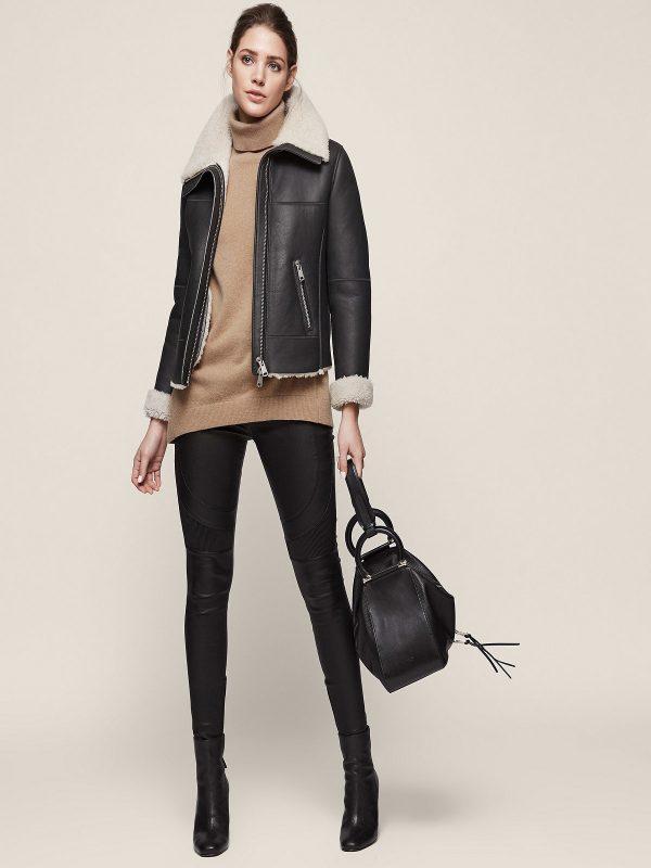 women black shearling jacket