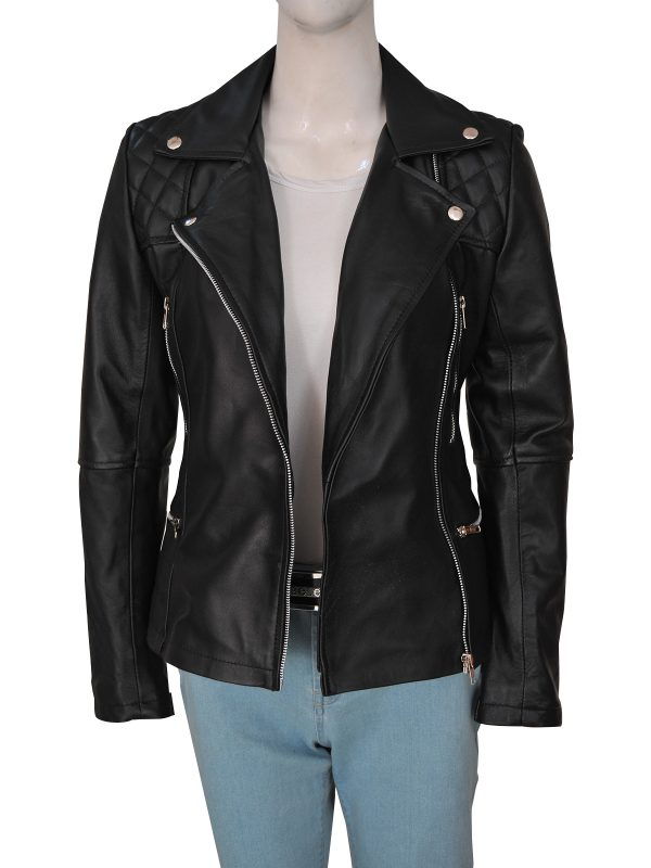 dashing women biker leather jacket, women sleek biker leather jacket,