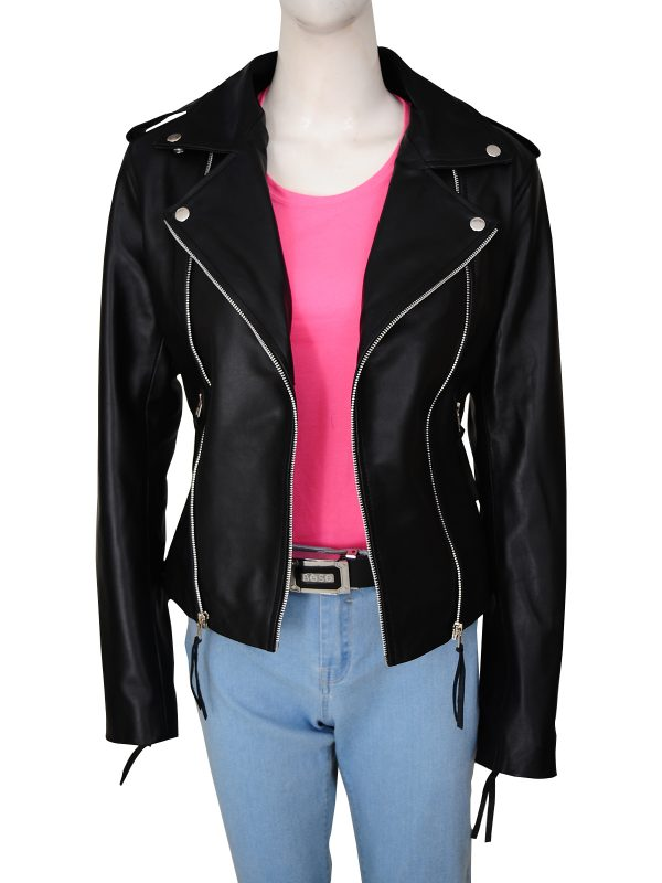 trendy black biker jacket for women, trending black brando leather jacket for women,