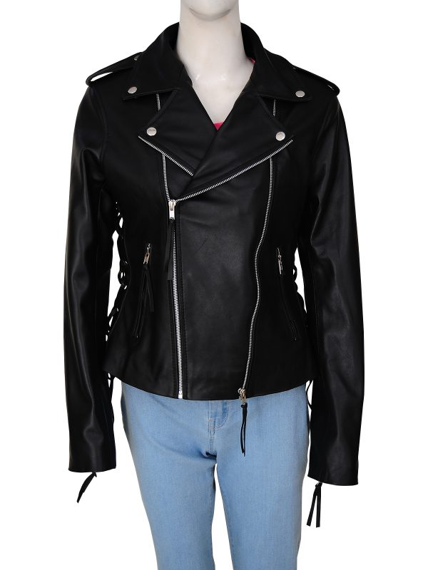 sleek women biker leather jacket, street style black biker jacket for women,
