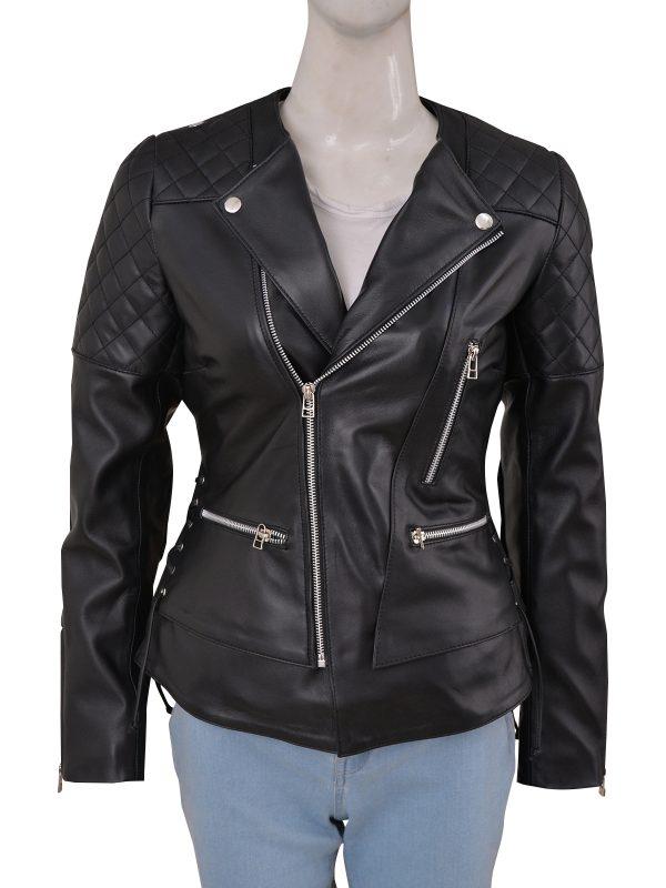 women chic style leather jacket, women sleek black leather jacket,