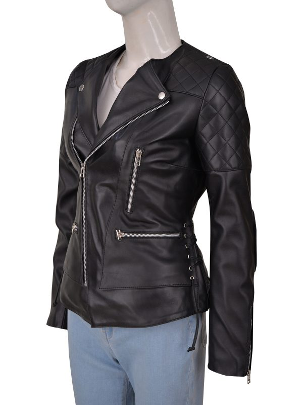 women black quilted motorcycle leather jacket, black quilted motorcycle leather jacket for women,