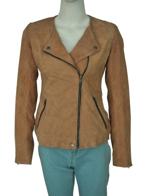 fancy brown suede leather jacket for women, women light brown suede leather jacket,