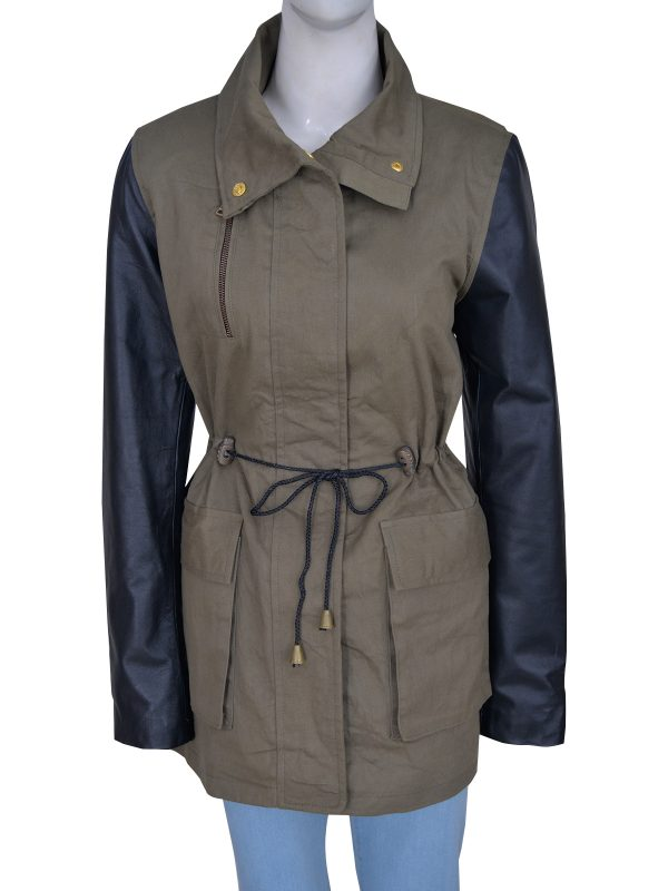 military green women jacket, trendy army green women jacket,