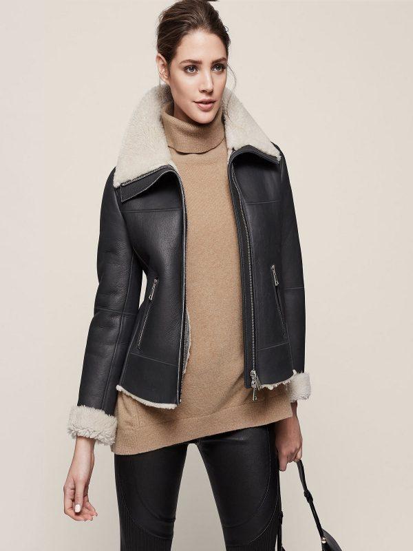 women black b3 sheepskin jacket