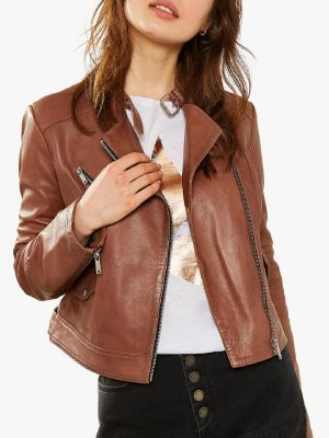 women tan jacket