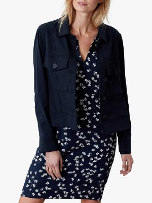 women blue cotton jacket