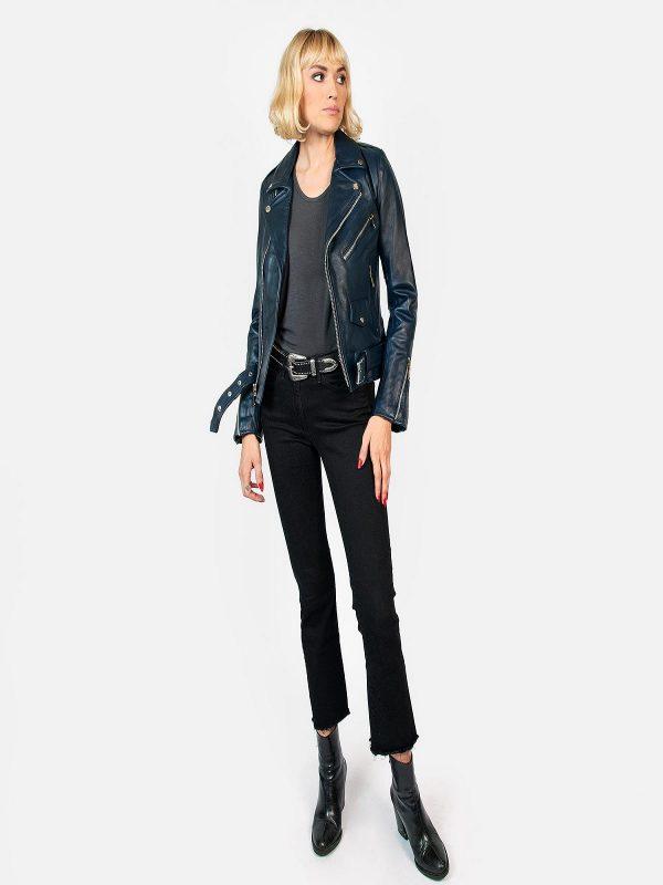 women blue leather jacket