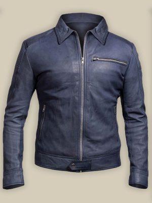 men blue biker jacket