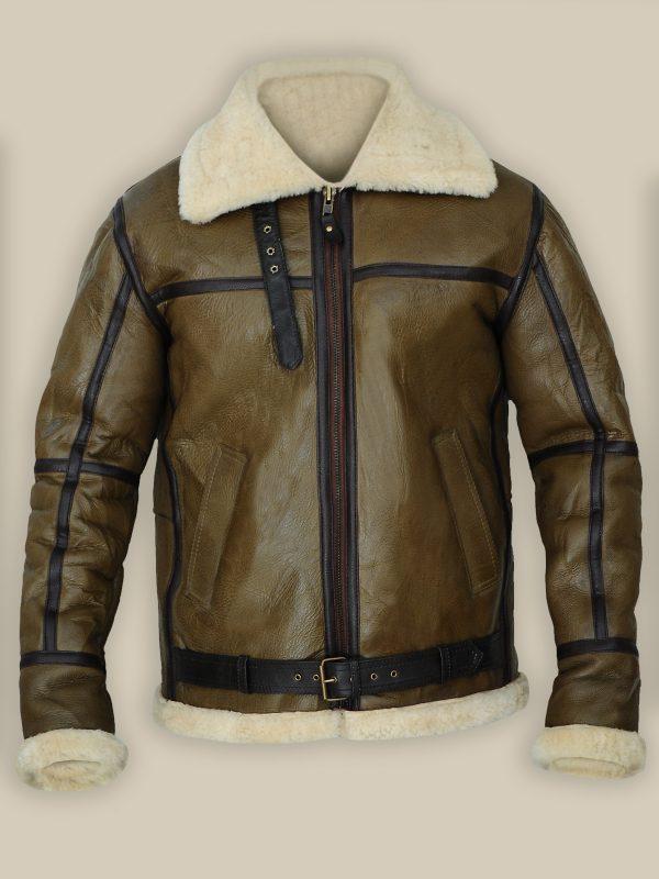 men b3 brown sheepskin leather jacket, mauvetree shearling jacket,
