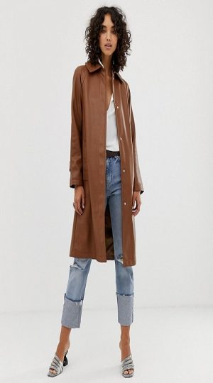 women brown leather trench