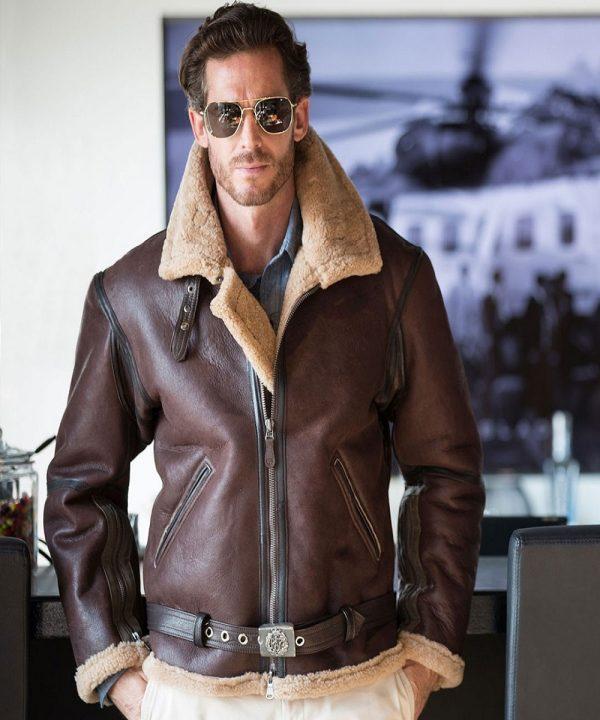 men raf shearling bomber jacket