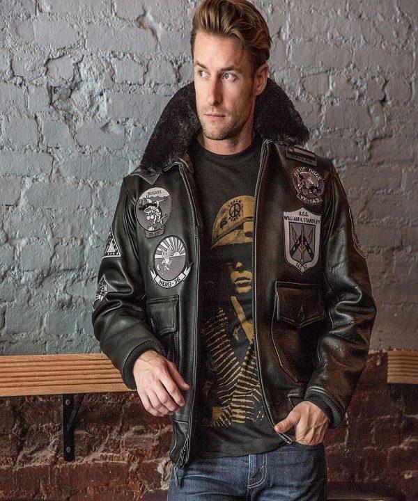 men top gun leather jacket