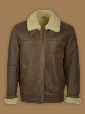 men brown b3 leather jacket