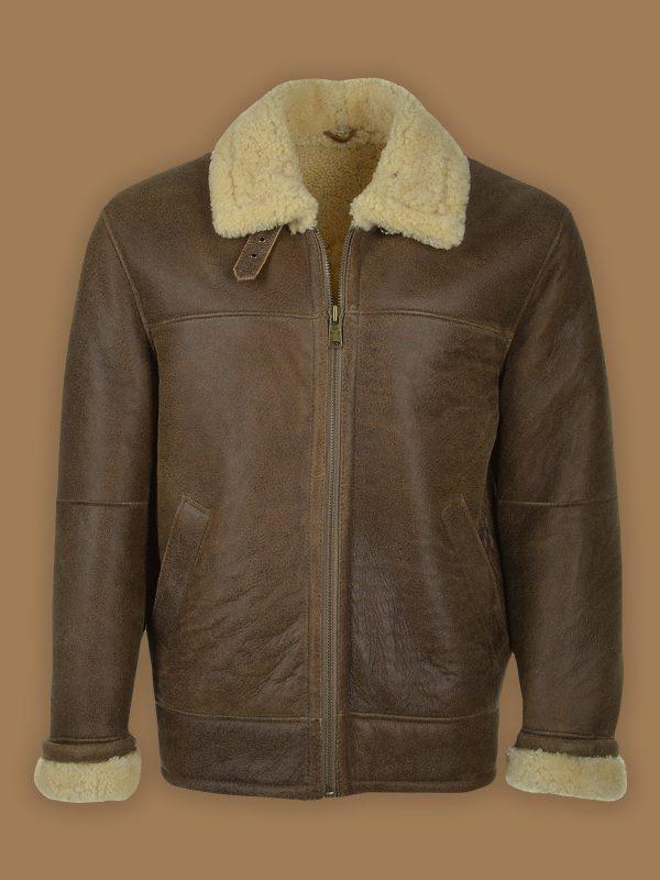 men brown b3 leather jacket