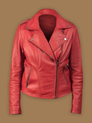 women red biker jacket