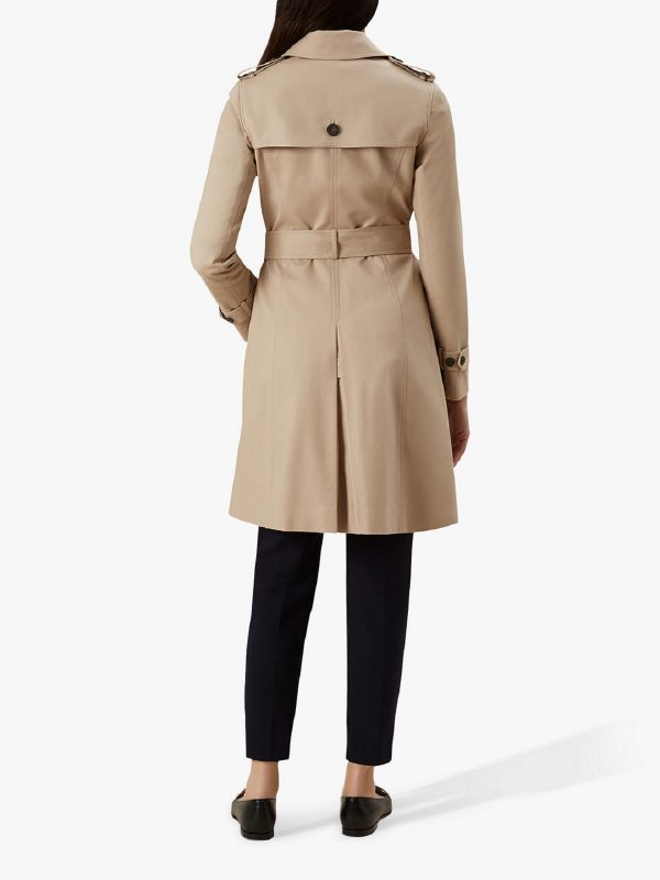 women clay brown wool trench