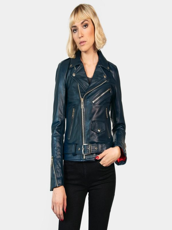 women sea blue leather jacket