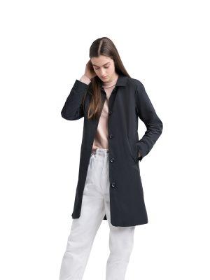 women pitch black coat