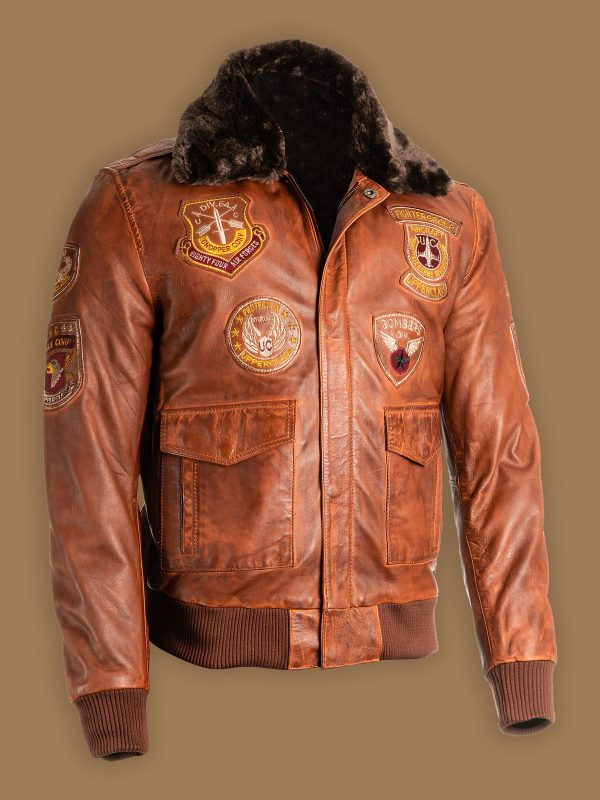 men brown top gun shearling jacket