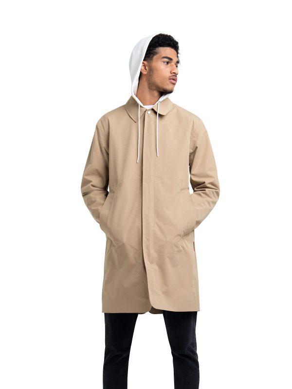 men khaki cotton coat