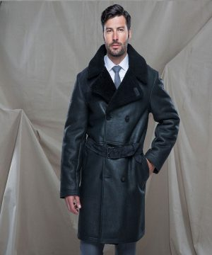 men aviator leather trench
