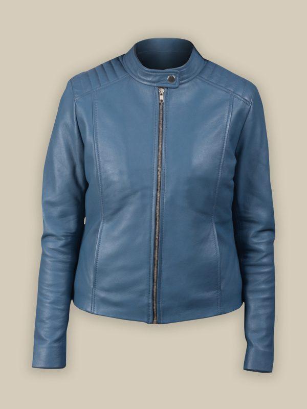 women light blue leather jacket
