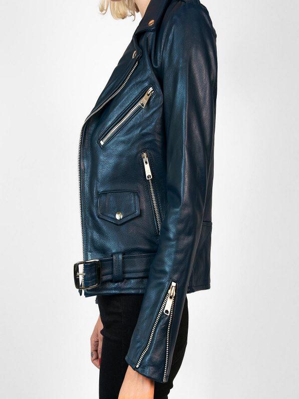 women blue biker leather jacket