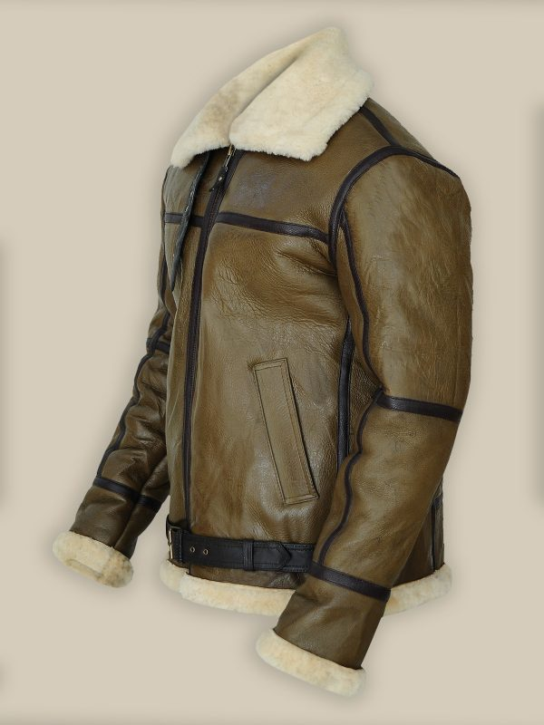 Men Greensih Brown Shearling Jacket, fashionable,