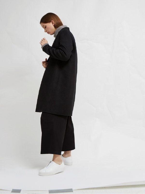 women single breasted wool coat