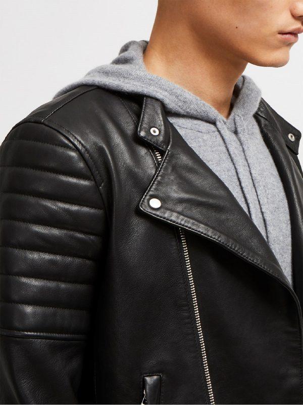men pitch black biker jacket