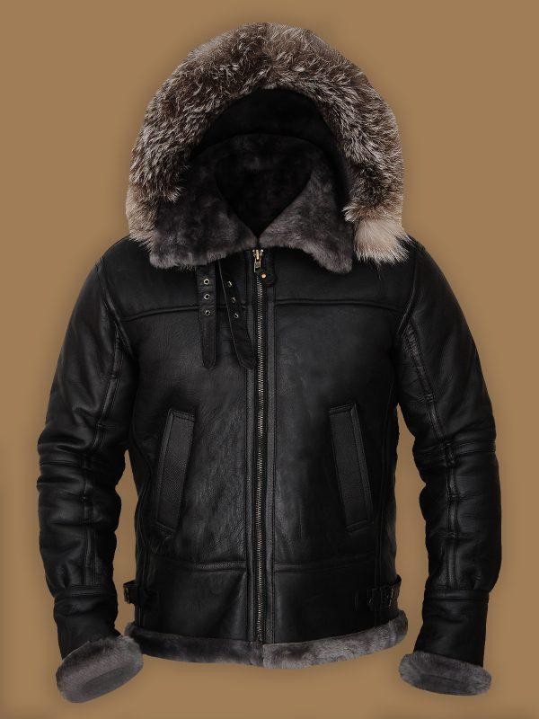 men black hoodie sheepskin jacket,