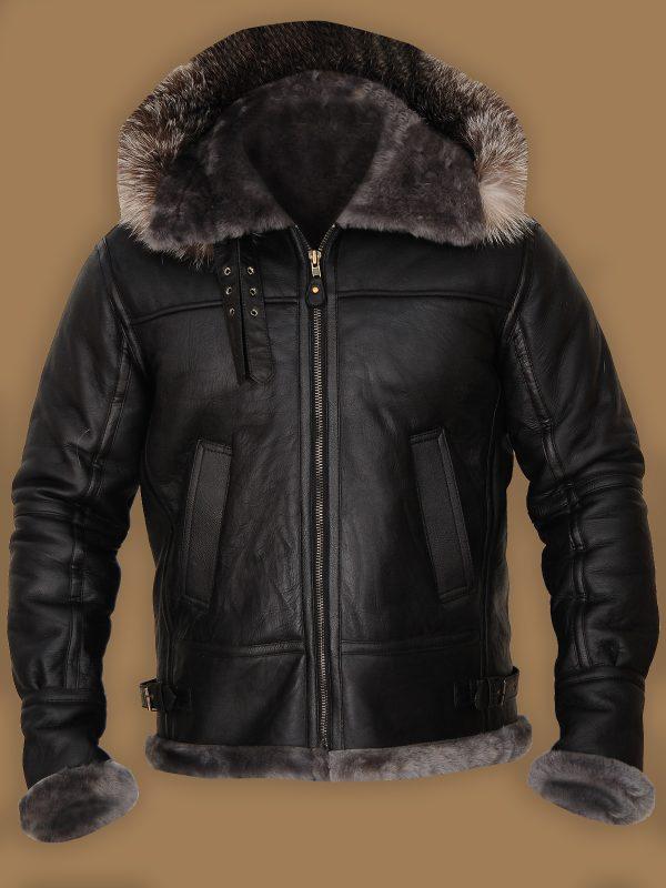 black b3 bomber aviator shearling hoodie jacket,