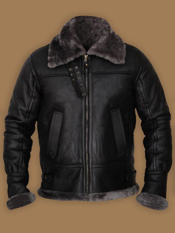 stylish black men shearling leather jacket