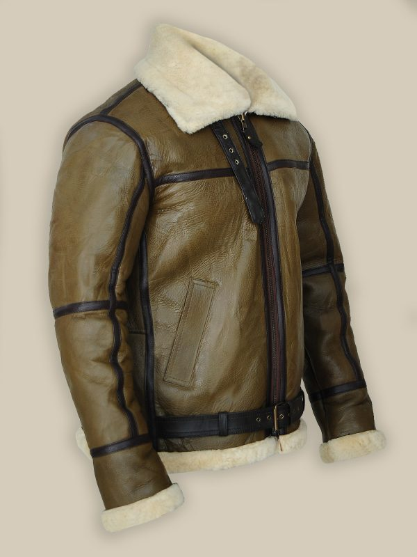 Stylish Men Shearling Jacket, fashionable leather jacket,