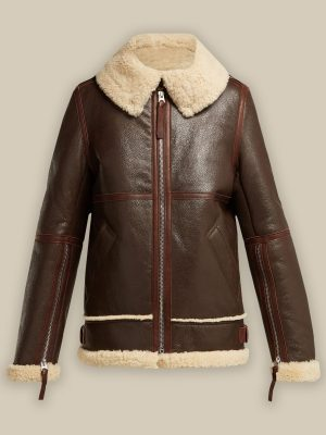 trendy women brown leather jacket
