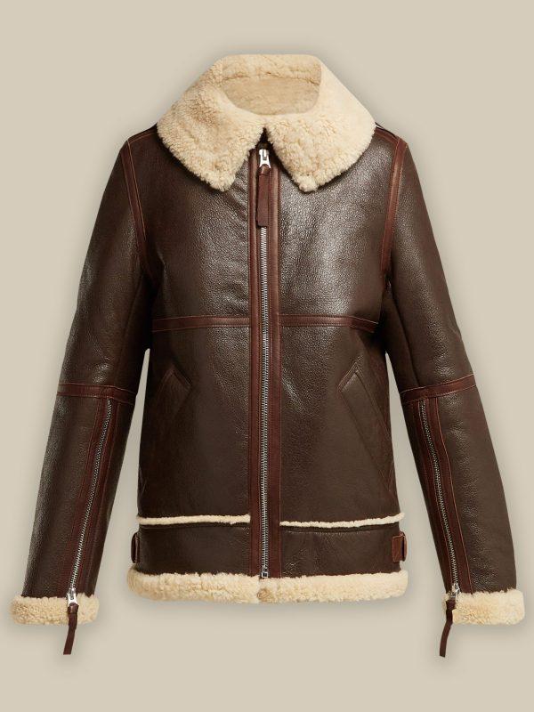 trendy women brown leather jacket