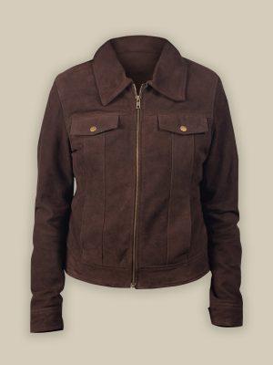 women brown suede jacket