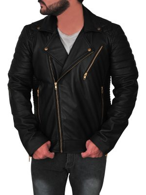 stylish black brando leather jacket for men, men fashionable black brando leather jacket,