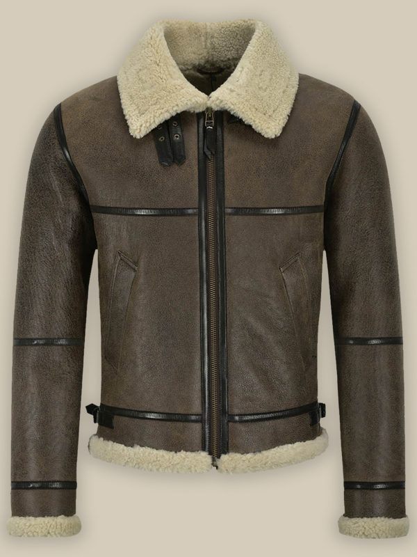 men brown sheepskin jacket