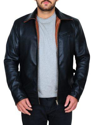 fashionable men black leather jacket, streetwear men black leather jacket,