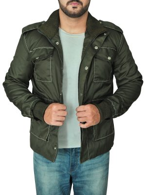 trendy men green cotton jacket, green cotton jacket for men,