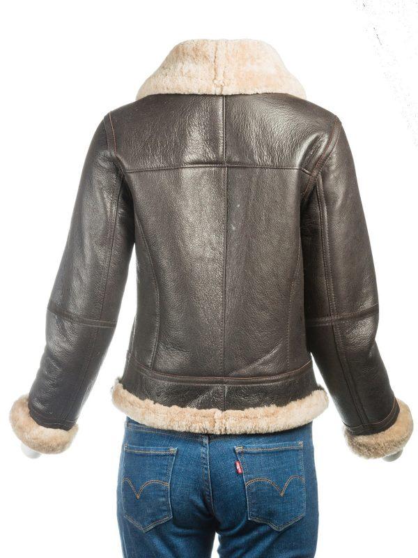 women dark brown shearling jacket