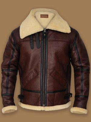brown b3 bomber shearling jacket, stylish b3 bomber sheepskin jacket