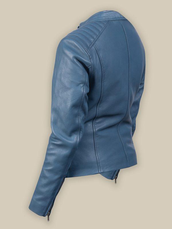 women blue biekr leather jacket