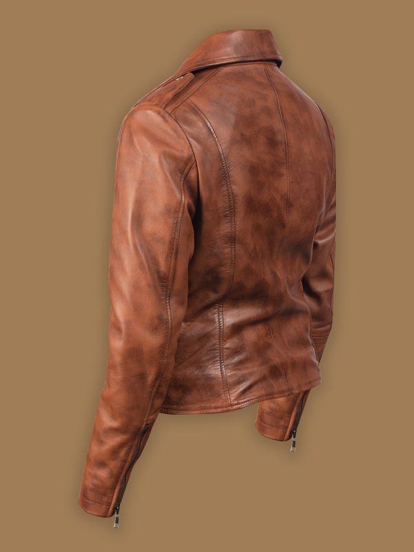 trending women brown leather jacket