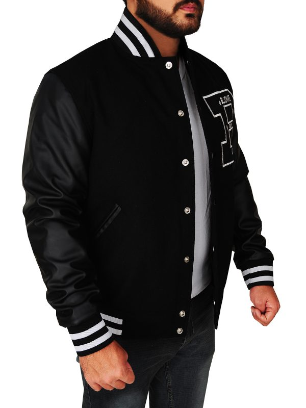 billionaire boys club black varsity jacket, men black letterman jacket,