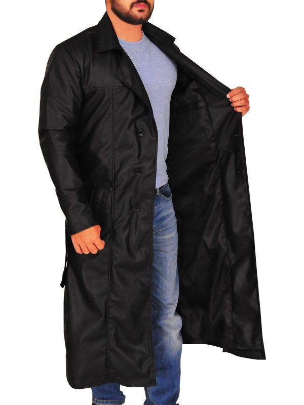 trending black men trench coat, stylish men black trench coat,